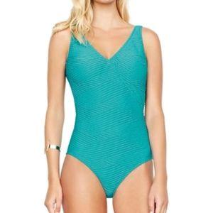 GOTTEX textured surplice plunge back aqua swimsuit